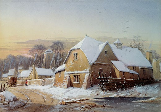 Stock Photo: 1661-765 Village in the Snow, John Knox, (1778-1845/Scottish)