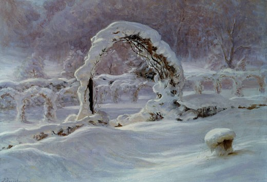 A Winter Garden, Joseph Farquharson, (1846-1935/British) : Stock Photo