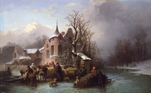 Loading the Cart on a Frozen River, Ferdinand Maron, (b.19th Century/Swiss) : Stock Photo
