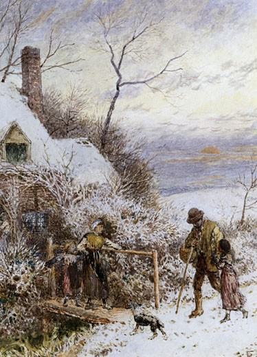 Going Home, Myles Birket Foster, (1825-1899/British) : Stock Photo