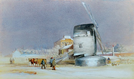 The Mill Near Broadstairs, Kent, England, George Howse, (b.18th Century/British) : Stock Photo