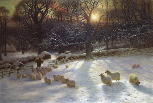 Stock Photo: 1661-893 The Shortening Winter's Day is Near a Close, Joseph Farquharson, (1846-1935/British)