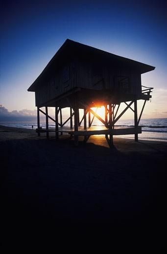 Silhouette of a lifeguard hut on the beach, Texas, USA : Stock Photo