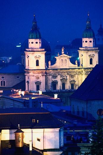 Cathedral lit up at dusk, Kollegienkirche, Salzburg, Austria : Stock Photo
