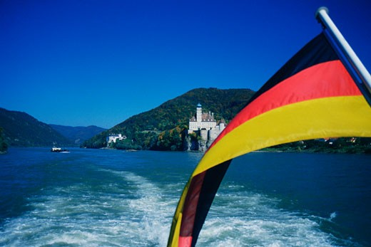 Stock Photo: 1663R-11294 Close-up of the German flag, Danube River, Wachau, Austria