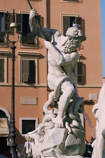 Stock Photo: 1663R-11304 Close-up of a statue, Fountain of Neptune, Piazza Navona, Rome, Italy