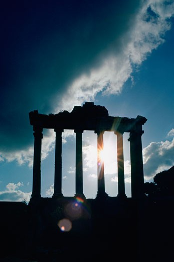 Silhouette of columns, Roman Forum, Rome, Italy : Stock Photo