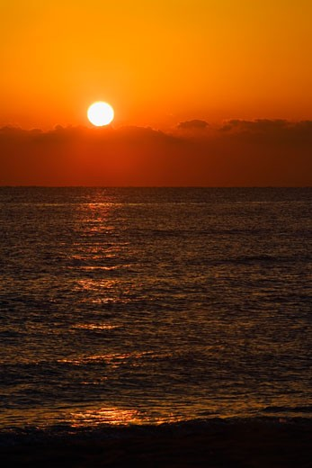 Stock Photo: 1663R-13344 Sunset over the sea, Miami, Florida, USA