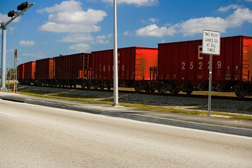 Freight train on a railroad track, Miami, Florida, USA : Stock Photo