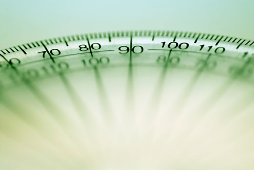 Stock Photo: 1663R-1472 Close-up of numbers on a protractor