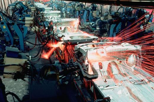 Robotic car frame assembly line, Newark, Delaware : Stock Photo