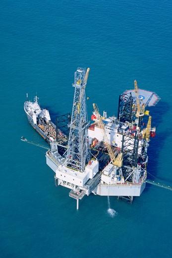 Oil drilling platform in the Mediterranean  : Stock Photo