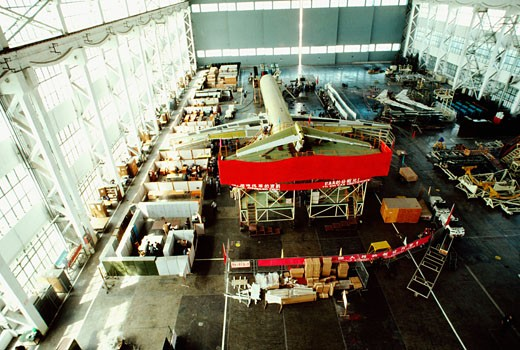 High angle view of a passenger craft in an airplane factory, Shanghai, China : Stock Photo