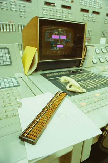 Interiors of a control room, Kawasaki, Honshu, Japan : Stock Photo