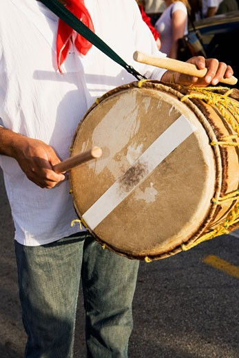 Stock Photo: 1663R-15190 Mid section view of a man playing a drum with sticks