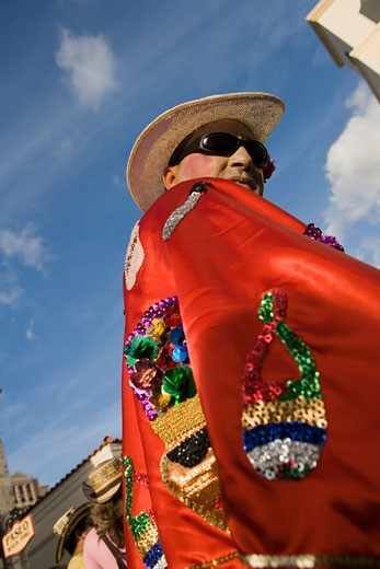 Low angle view of a mature man wearing a costume : Stock Photo