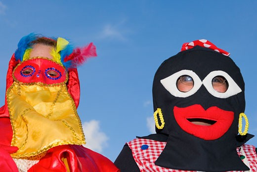 Stock Photo: 1663R-15200 Close-up of two people wearing masks