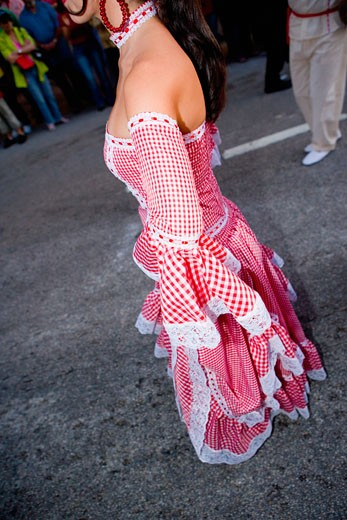 Stock Photo: 1663R-15224 Side profile of a woman wearing a costume and performing