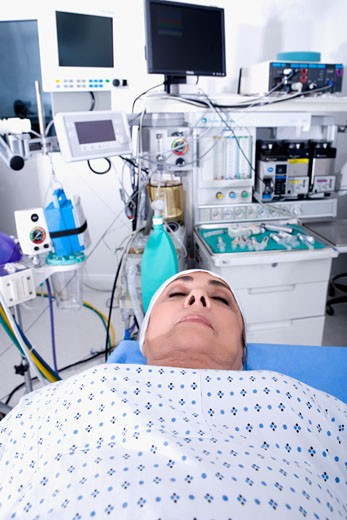 Female patient in the ICU : Stock Photo