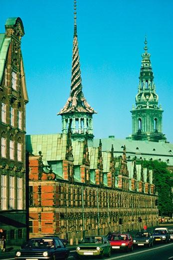 Road along a building, Borsen Building, Copenhagen, Denmark : Stock Photo