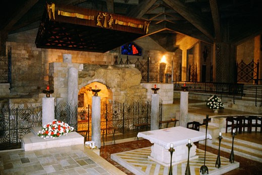 Interiors of a basilica, Basilica Of The Annunciation, Nazareth, Israel : Stock Photo