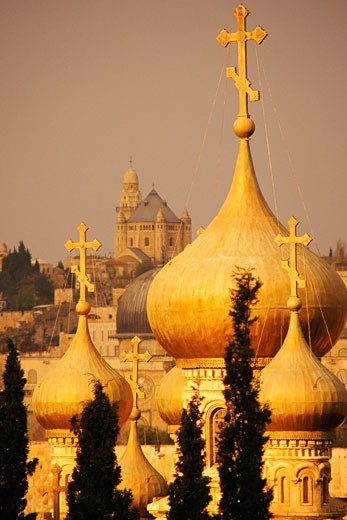 Domes of a church, Church Of St. Mary Magdalene, Mount Of Olives, Jerusalem, Israel : Stock Photo