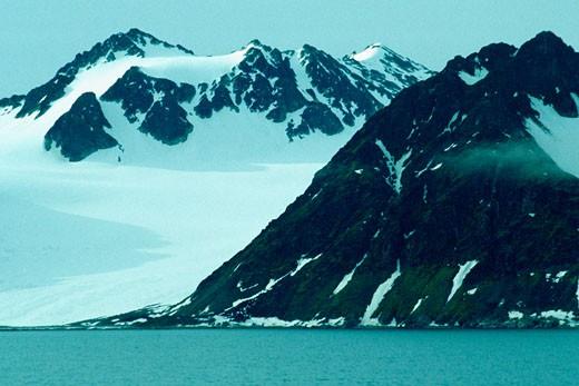 Stock Photo: 1663R-18435 Snowcapped mountains at the waterfront, Svalbard islands, Norway
