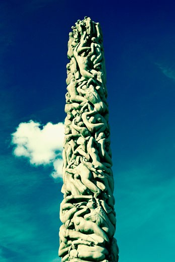 Stock Photo: 1663R-18439 Low angle view of sculptures carved on a column, Gustav Vigeland Sculpture Park, Oslo, Norway