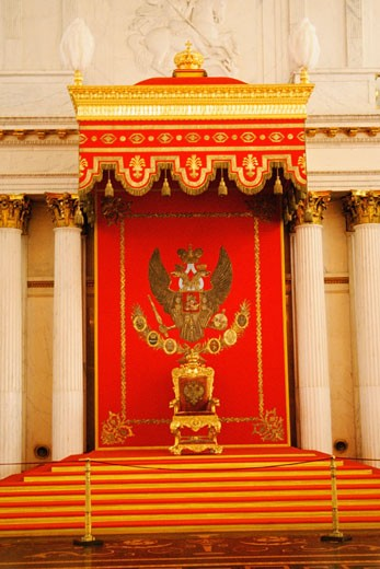 Stock Photo: 1663R-18509 Throne in a throne hall, St. George Hall, Winter Palace, Hermitage Museum, St. Petersburg, Russia