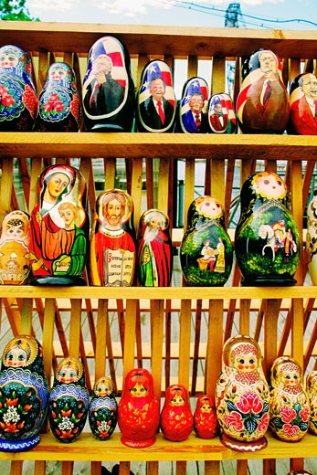 Close-up of religious and political dolls, St. Petersburg, Russia : Stock Photo