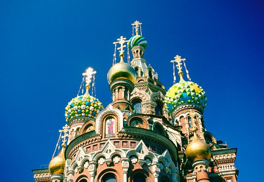 High section view of a church, Church Of The Resurrection Of Christ, St. Petersburg, Russia : Stock Photo