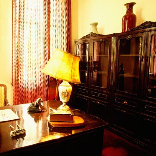 Interiors of an office, Chiang Kai-Shek, Nanjing, Meiling Palace, Jiangsu Province, China : Stock Photo