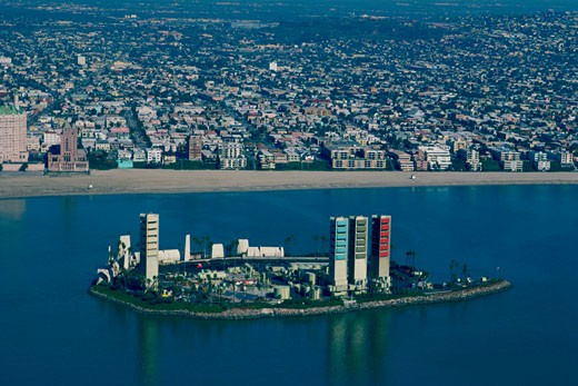 Offshore oil rigs disguised as highrises, Long Beach, California : Stock Photo