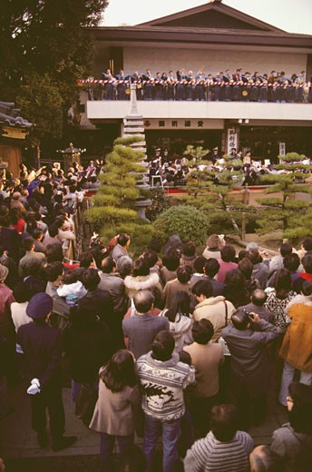 High angle view of a large group of people celebrating Setsubun festival, Tokyo Prefecture, Japan : Stock Photo