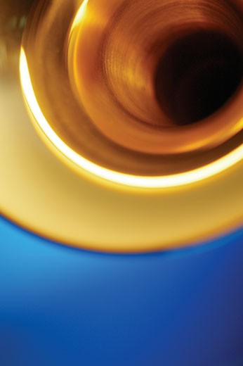 Low angle view of trumpet bell, close-up : Stock Photo