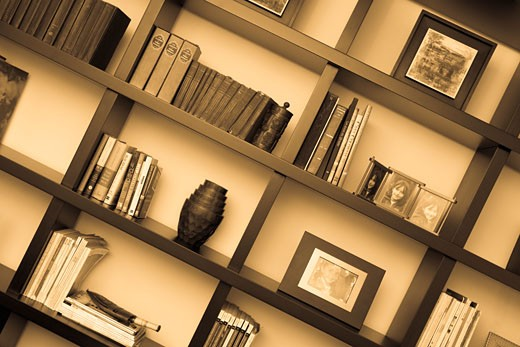 Stock Photo: 1663R-19503 Books and picture frames in shelves