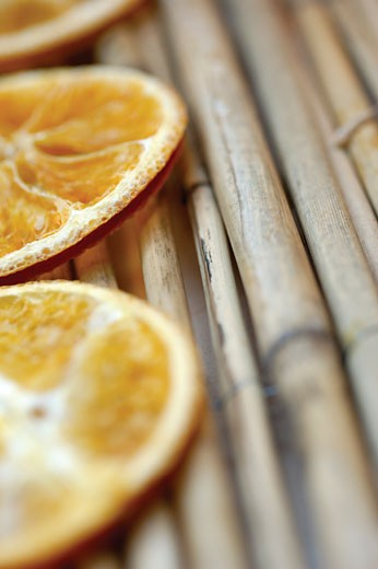 Close-up of dried slices of lemon : Stock Photo