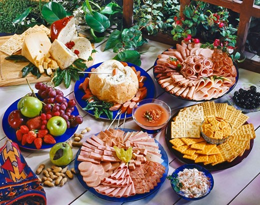 Stock Photo: 1663R-21082 High angle view of picada fiesta