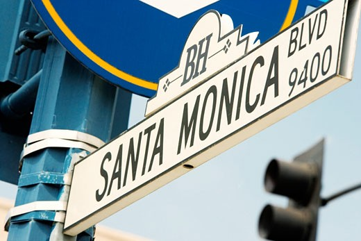 Low angle view of a Santa Monica Boulevard Sign, Los Angeles, California, USA : Stock Photo