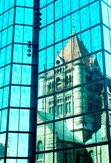 Stock Photo: 1663R-23050 Trinity Church reflected in , high rise, Boston, MA