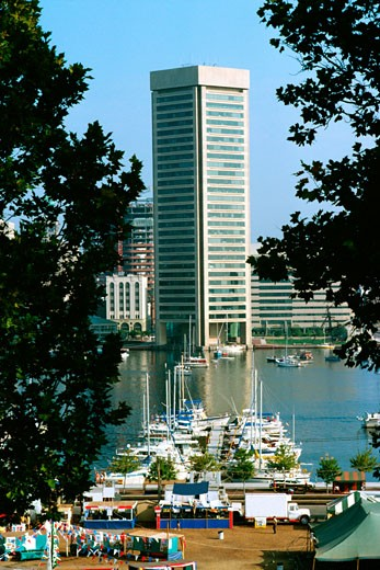 Baltimore harbor and World Trade Center in the background, Maryland : Stock Photo