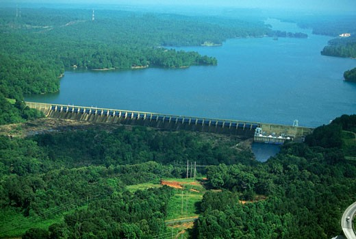 Oliver hydroelectric dam, Georgia, USA : Stock Photo