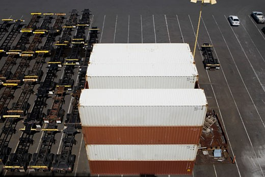 Stock Photo: 1663R-23561 High angle view of cargo containers at a commercial dock
