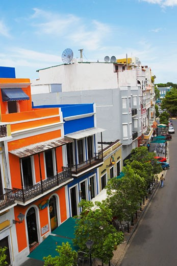 Buildings along a road, Old San Juan, San Juan, Puerto Rico : Stock Photo