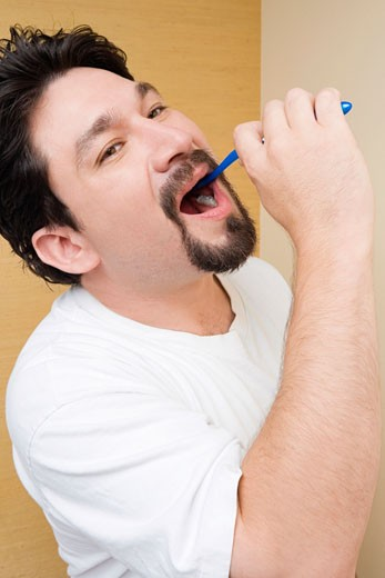 Stock Photo: 1663R-24784 Side profile of a mid adult man brushing his teeth