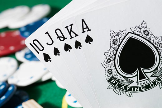 Close-up of the poker of spades : Stock Photo