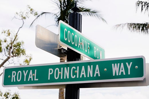Stock Photo: 1663R-27401 Close-up of signboards, Royal Poinciana Way, Palm Beach, Florida, USA