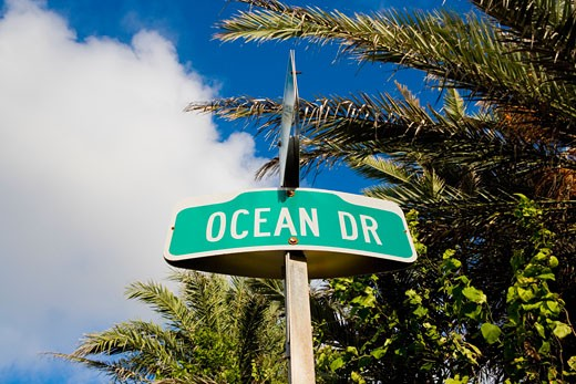 Stock Photo: 1663R-27666 Low angle view of a signboard, South Beach, Miami Beach, Florida, USA