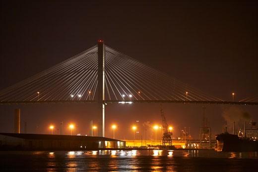 Stock Photo: 1663R-28220 Suspension bridge lit up at night, Talmadge Bridge, Savannah River, Savannah, Georgia, USA