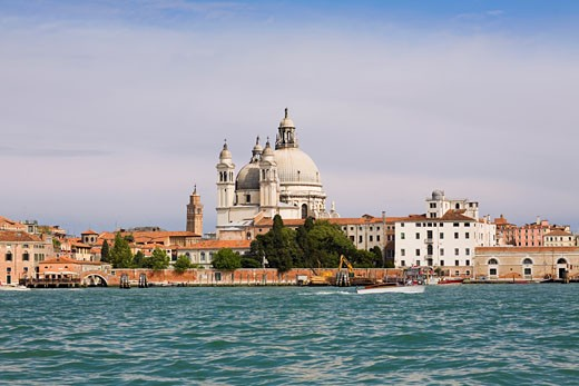 Stock Photo: 1663R-28653 Church at the waterfront, Santa Maria Della Salute, Grand Canal, Venice, Italy